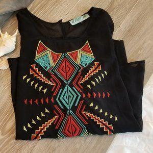 2/$25☀️3/30 Aina Be Sheer Black Tribal Blouse